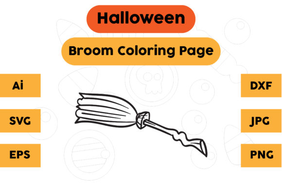 Halloween Coloring Page - Broom 03 Graphic Coloring Pages & Books Kids By isalsemarang