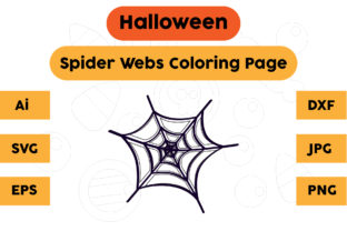 Halloween Coloring Page - Spider Webs 01 Graphic Coloring Pages & Books Kids By isalsemarang