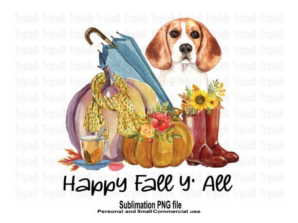 Print on Demand: Happy Fall Y'all Beagle Dog Sublimation Graphic Crafts By TripleBcraft