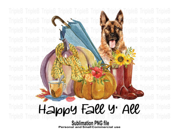 Print on Demand: Happy Fall Y'all and German Shepherd Graphic Crafts By TripleBcraft