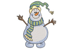 Happy Snowman Christmas Embroidery Design By BabyNucci Embroidery Designs