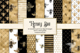 Print on Demand: Honey Bee Digital Paper Graphic Backgrounds By Digital Curio