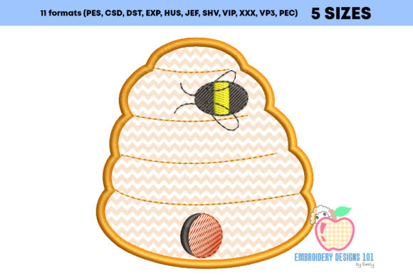 Honeybee with Bee Hive Applique Embroidery Download