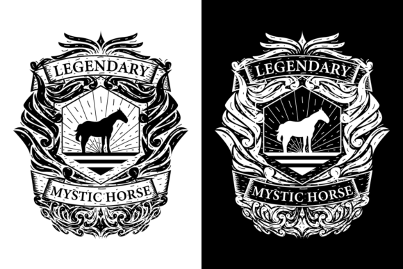 Print on Demand: Horse Vintage Retro Badge Logo Graphic Logos By Dender Studio