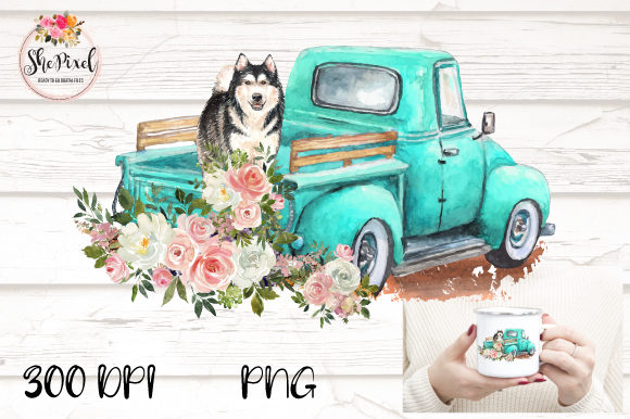Print on Demand: Husky Watercolor Vintage Truck Clipart Graphic Illustrations By Sublimation Hut