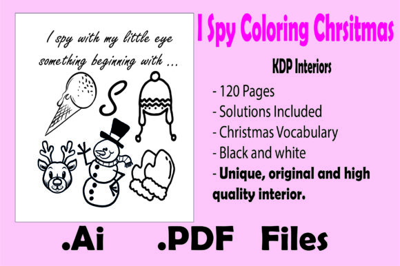 I Spy Coloring Christmas for Kids Graphic
