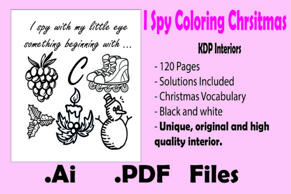 I Spy Coloring Christmas for Kids Graphic Item