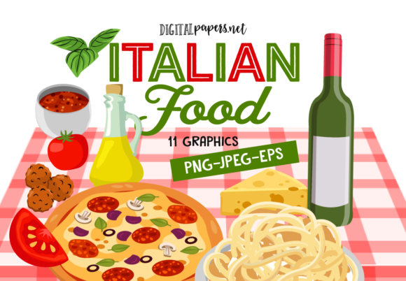 Print on Demand: Italian Food Graphic Illustrations By DigitalPapers