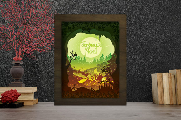Joyeux Noel 5 Light Box Shadow Box Graphic 3D Shadow Box By LightBoxGoodMan