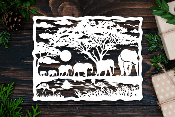 Kirigami Elephant 1 Paper Cut Graphic 3D Shadow Box By LightBoxGoodMan