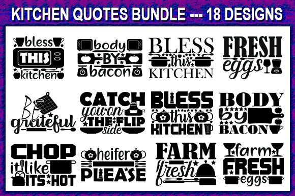 Print on Demand: Kitchen Quote Designs Bundle Graphic Print Templates By store_svg
