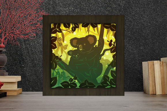 Koala 1 Light Box Shadow Box Graphic 3D Shadow Box By LightBoxGoodMan