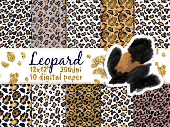 Leopard Gold Digital Paper Pack Graphic Patterns By artpanda2018