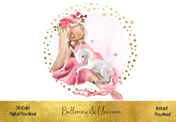 Little Ballerina with Baby Unicorn Graphic Illustrations By STBB
