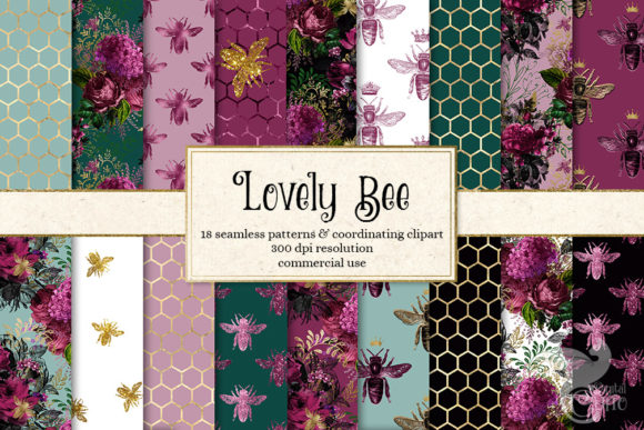 Print on Demand: Lovely Bee Digital Paper Graphic Backgrounds By Digital Curio