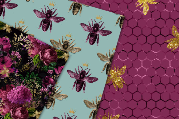 Lovely Bee Digital Paper Graphic Download
