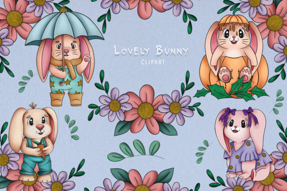 Print on Demand: Lovely Bunny Clipart Cute Collection Set Graphic Illustrations By StudioAngelArts