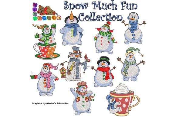 Lovely Snowman and a Cup of Hot Chocolate Embroidery Download