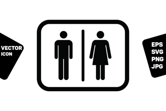 Print on Demand: Male and Female Symbol Icon Vector Sign Graphic Icons By TukTuk Design