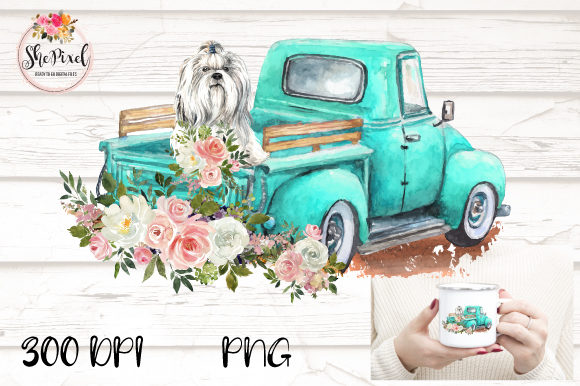 Print on Demand: Maltese Vintage Truck Watercolor Clipart Graphic Illustrations By ShePixel
