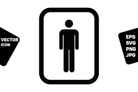 Print on Demand: Man Symbol Icon Vector for Toilet Sign Graphic Icons By TukTuk Design