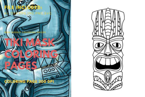 Mask Tiki Coloring Book Element Graphic