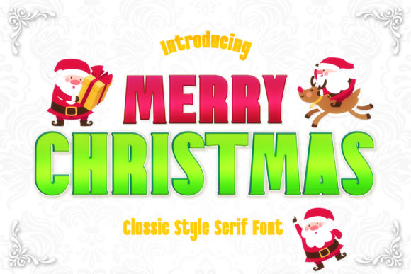 Print on Demand: Merry Christmas Serif Font By numnim