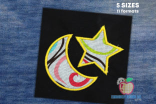 Moon with Star Applique Pattern Cities & Villages Embroidery Design By embroiderydesigns101