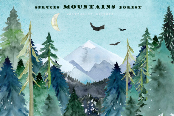 Mountains Spruces Forest Watercolors Graphic