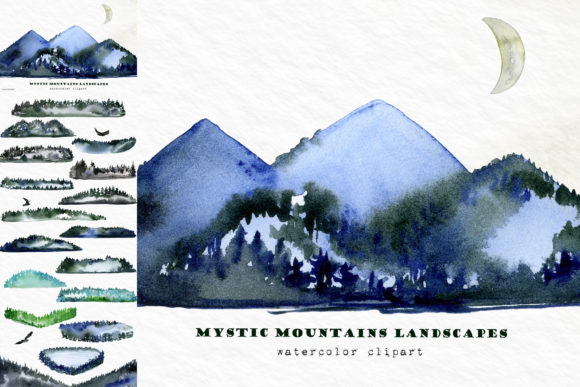 Mountains Spruces Forest Watercolors Graphic Item