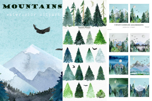 Mountains Spruces Forest Watercolors Graphic Preview