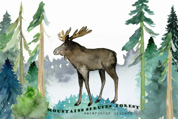 Mountains Spruces Forest Watercolors Graphic Downloadable Digital File