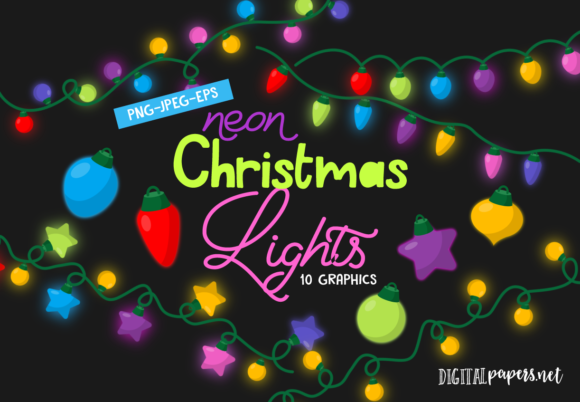 Print on Demand: Neon Christmas Lights Graphic Illustrations By DigitalPapers