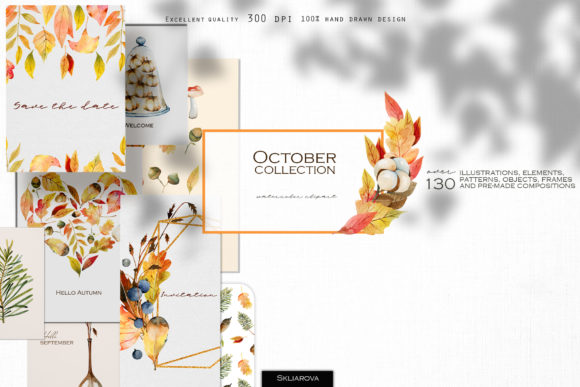 October Collection Graphic Illustrations By HappyWatercolorShop