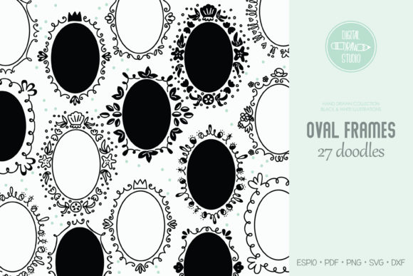 Oval Frame | Round Border | Wreath Graphic Illustrations By Digital_Draw_Studio