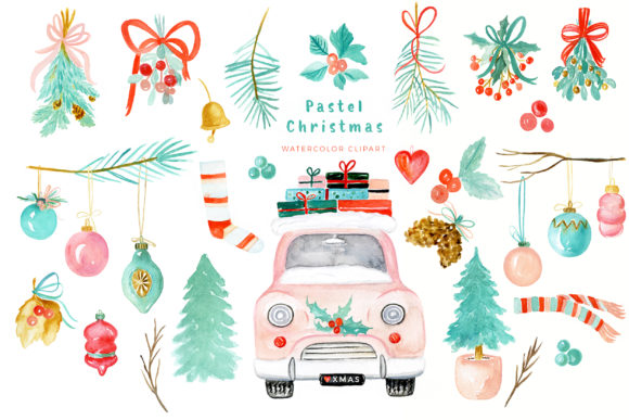 Pastel Christmas Watercolor Clipart Graphic