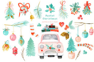 Pastel Christmas Watercolor Clipart Graphic Illustrations By LABFcreations