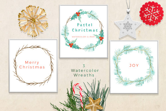 Pastel Christmas Watercolor Clipart Graphic Download