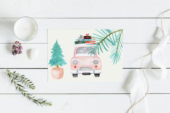 Pastel Christmas Watercolor Clipart Graphic Item