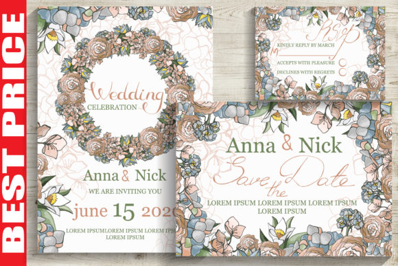 Pastel Wedding Invitation Cards Graphic Print Templates By AstraDesign
