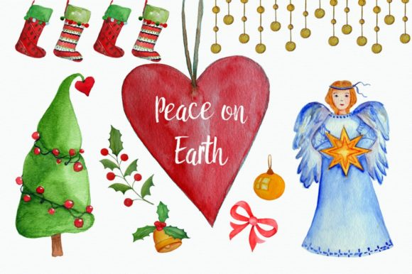 Peace on Earth Clip Art Set Graphic Illustrations By tatibordiu