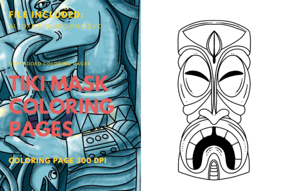 Print on Demand: Polynesian Mask Big Teeth Coloring Book Graphic Coloring Pages & Books Adults By stanosh