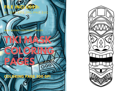 Print on Demand: Polynesian Mask Tiki Coloring Book Graphic Graphic Templates By stanosh