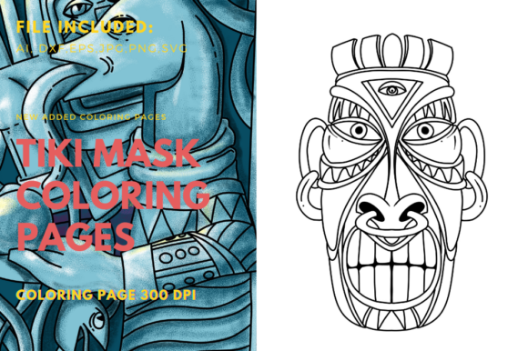 Print on Demand: Polynesians Mask Coloring Page Graphic KDP Interiors By stanosh