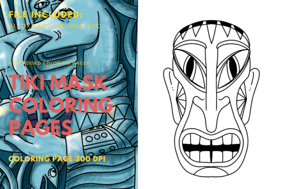 Print on Demand: Polynesians Tiki Mask Coloring Page Graphic Graphic Templates By stanosh