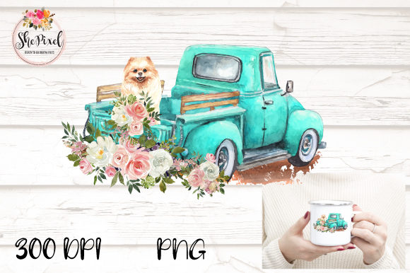 Print on Demand: Pomeranian Vintage Truck Watercolor PNG Graphic Illustrations By Sublimation Hut