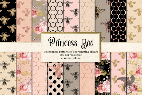 Print on Demand: Princess Bee Digital Paper Gráfico Backgrounds Por Digital Curio