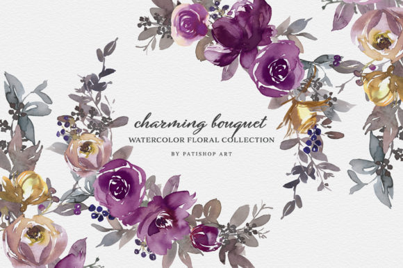 Purple Violet Watercolor Clipart Set Graphic Illustrations By Patishop Art