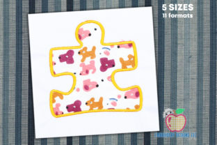 Puzzle Piece Applique Pattern Toys & Games Embroidery Design By embroiderydesigns101