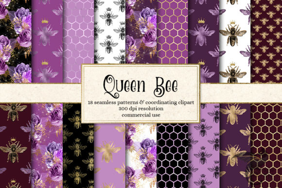 Print on Demand: Queen Bee Digital Paper Graphic Backgrounds By Digital Curio